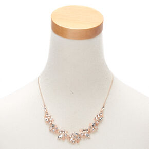 Rose Gold Rhinestone Statement Necklace,