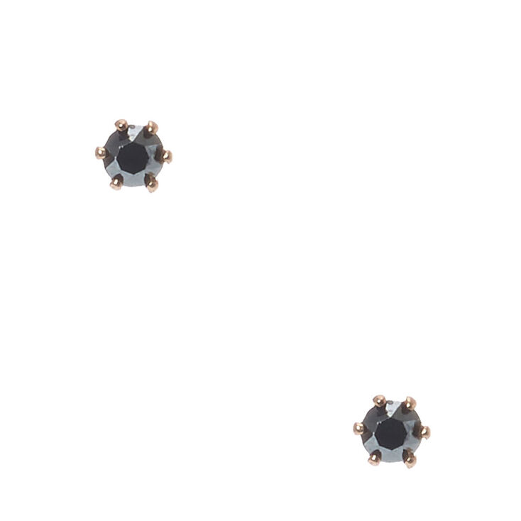 18kt Gold Plated Rose Gold 3m Stone Earrings,