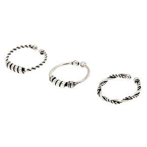 Sterling Silver Baili Braided Faux Hoop Nose Rings - 3 Pack,