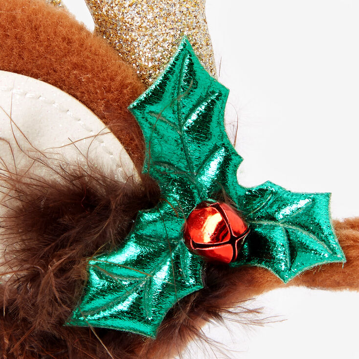 Reindeer Antler Jingle Bell Headband - Brown,