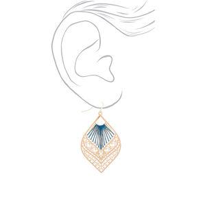 "Gold 2.5"" Filigree Threaded Drop Earrings - Teal,"