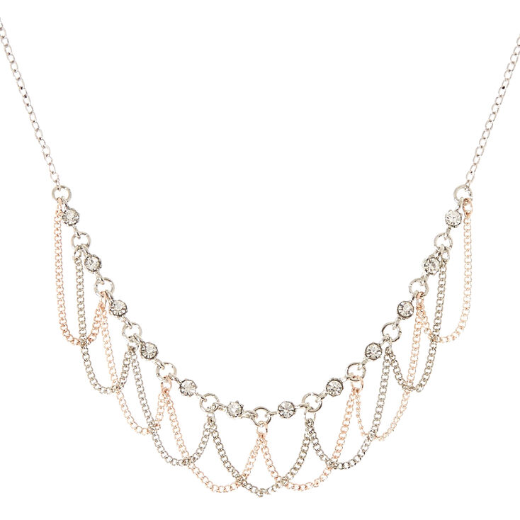 Silver & Rose Gold-Tone Rhinestone Loop Necklace,