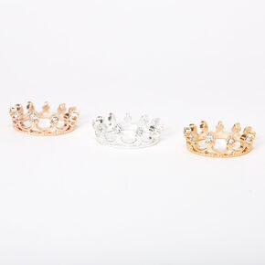 Mixed Metal Crown Midi Rings - 3 Pack,