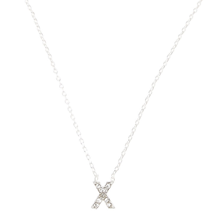 """X"" Pendant Initial Necklace,"