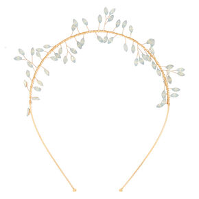 Gold Glass Rhinestone Leaf Headband,