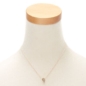 Rose Gold Cursive Initial Pendant Necklace - Q,