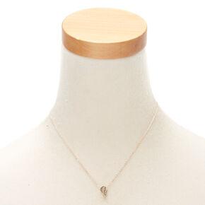 Rose Gold Cursive Initial Pendant Necklace - Q,