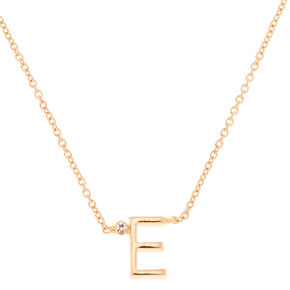 Gold Initial Necklace - E,