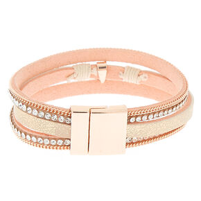 Embellished Key Charm Wrap Bracelet - Blush,