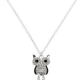 Silver Owl Pendant Necklace,