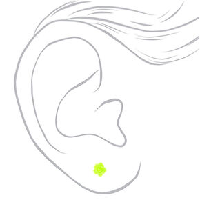 Rose Stud Earrings - Neon Yellow,
