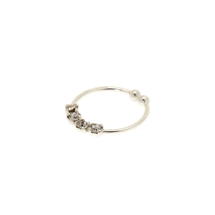 Sterling Silver Stone Faux Nose Ring,