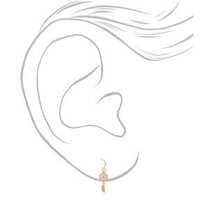 "18kt Gold Plated 1"" Dreamcatcher Drop Earrings,"