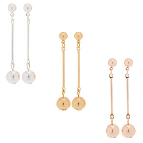 3 Pack Mixed Metal Stick Drop Earrings,