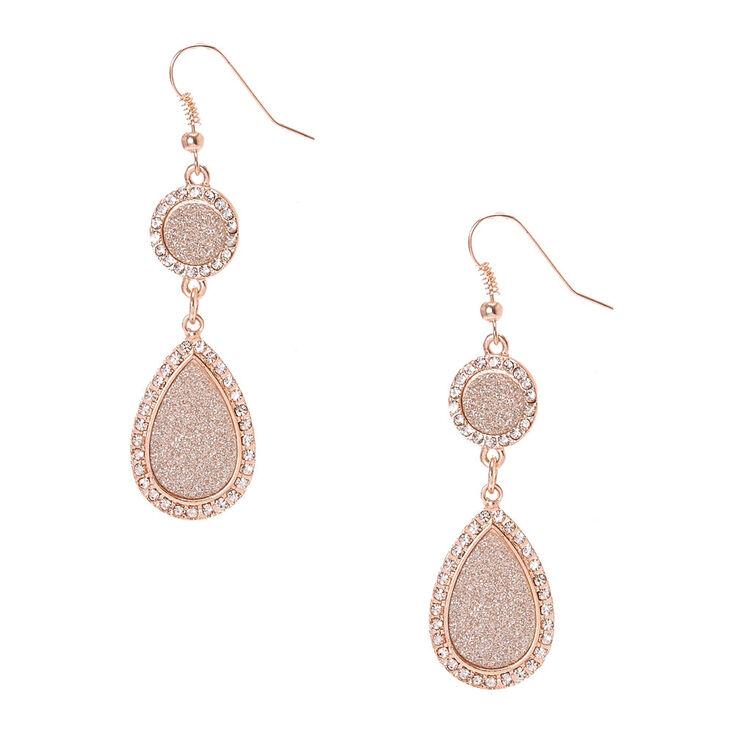 Rose Gold Tone & Silver Glitter Circle & Teardrop Drop Earrings,