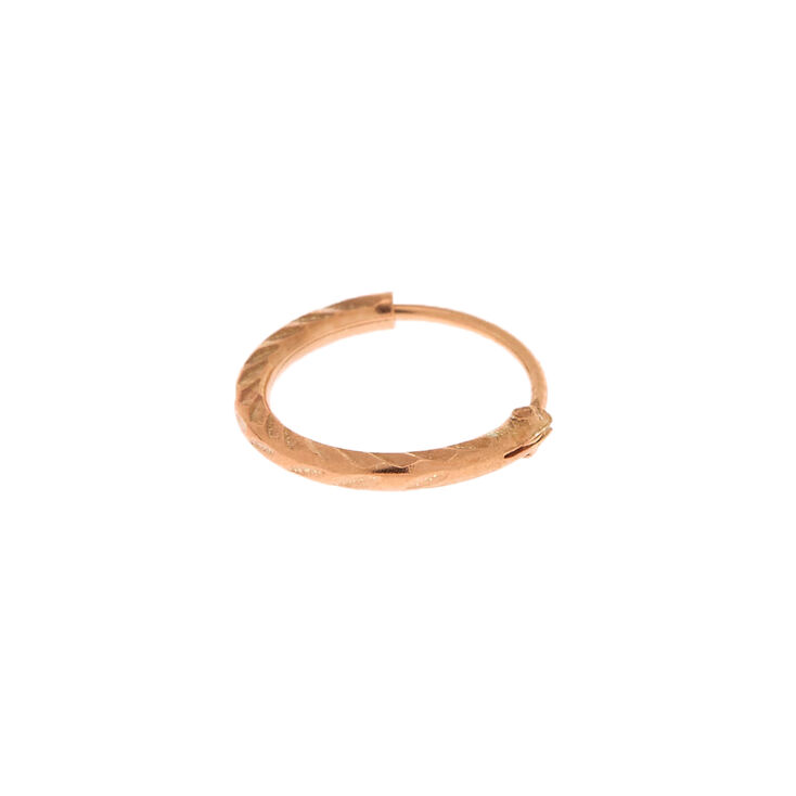 Rose Gold Sterling Silver 22G Textured Cartilage Hoop Earring,