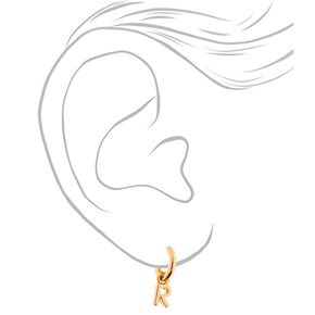 Gold 10MM Initial Huggie Hoop Earrings - R,