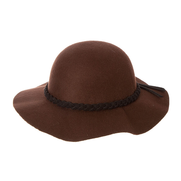 Dark Brown Felt with Braided Black Trim Short Brim Floppy Hat  326452fce4d