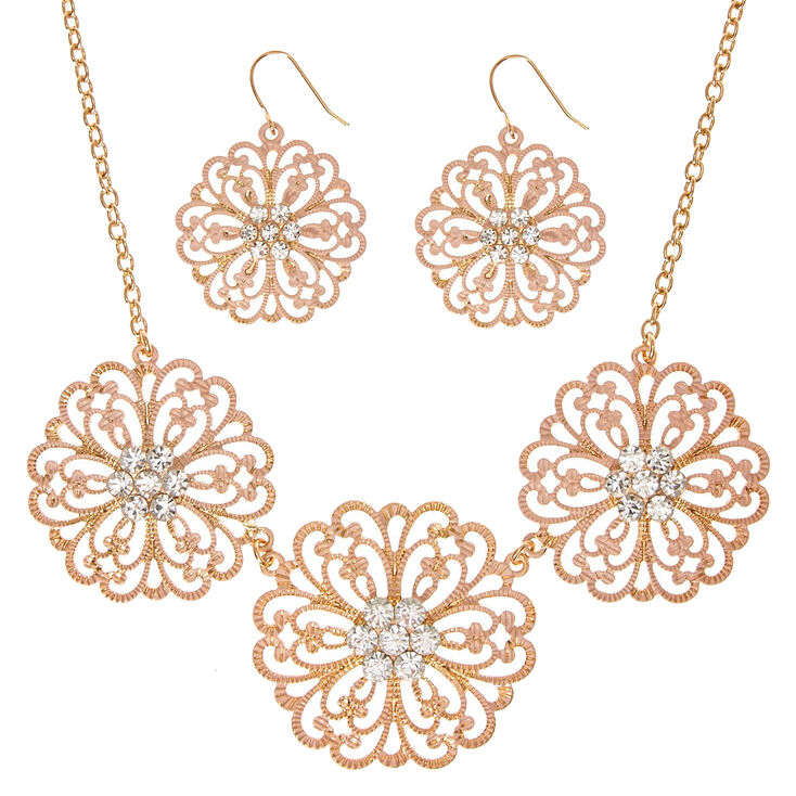 Gold-Tone & Blush Flower Statement Necklace & Earring Set,