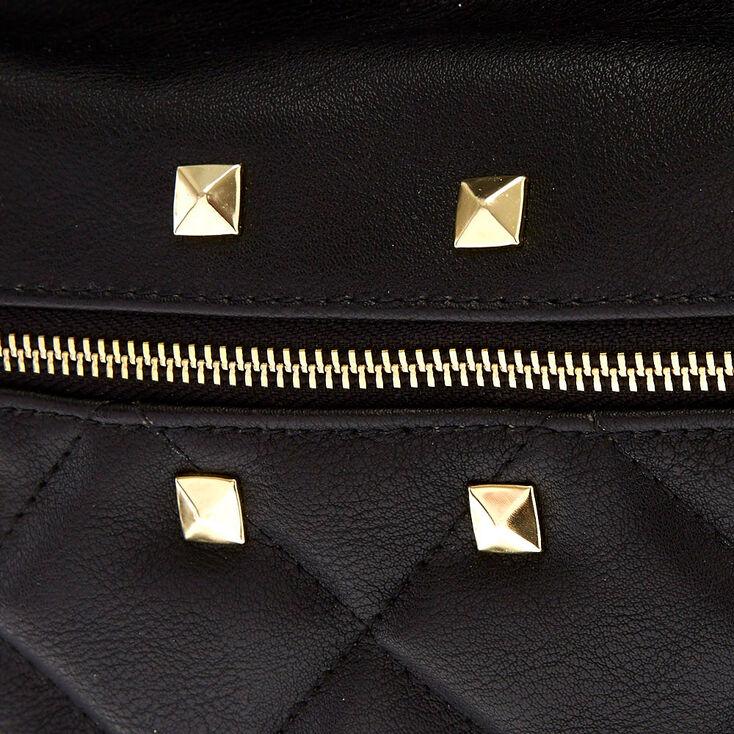 Faux Leather Studded Medium Backpack - Black,