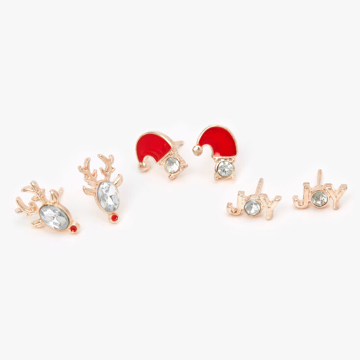 Rose Gold Holiday Stone Stud Earrings - 3 Pack,