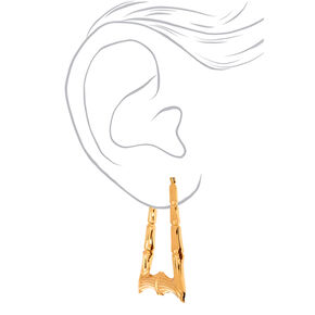 Gold 70MM Bamboo Hoop Earrings,