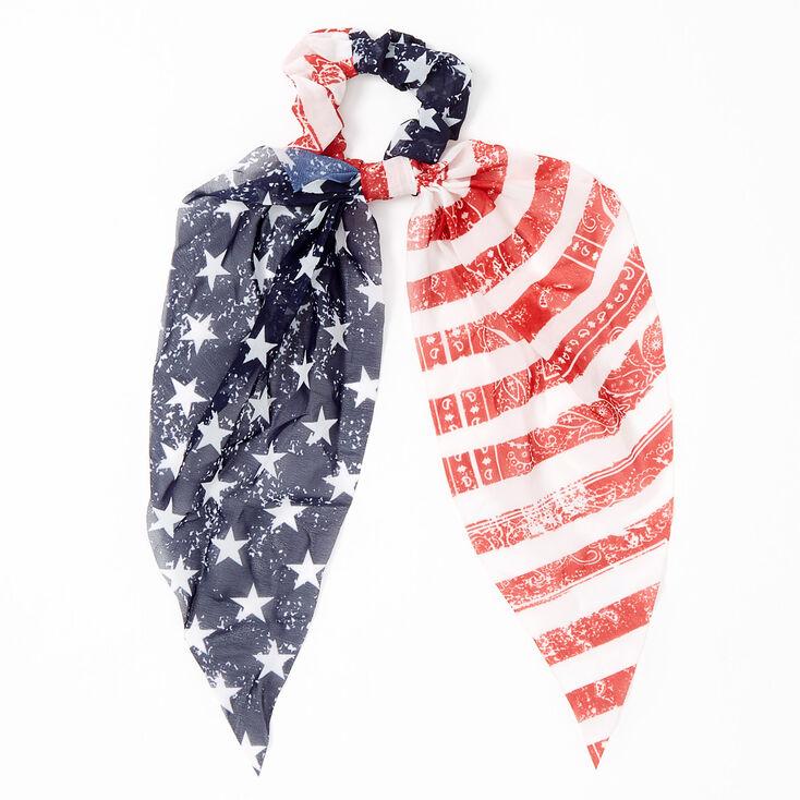 Small American Flag Paisley Bandana Hair Scrunchie Scarf,