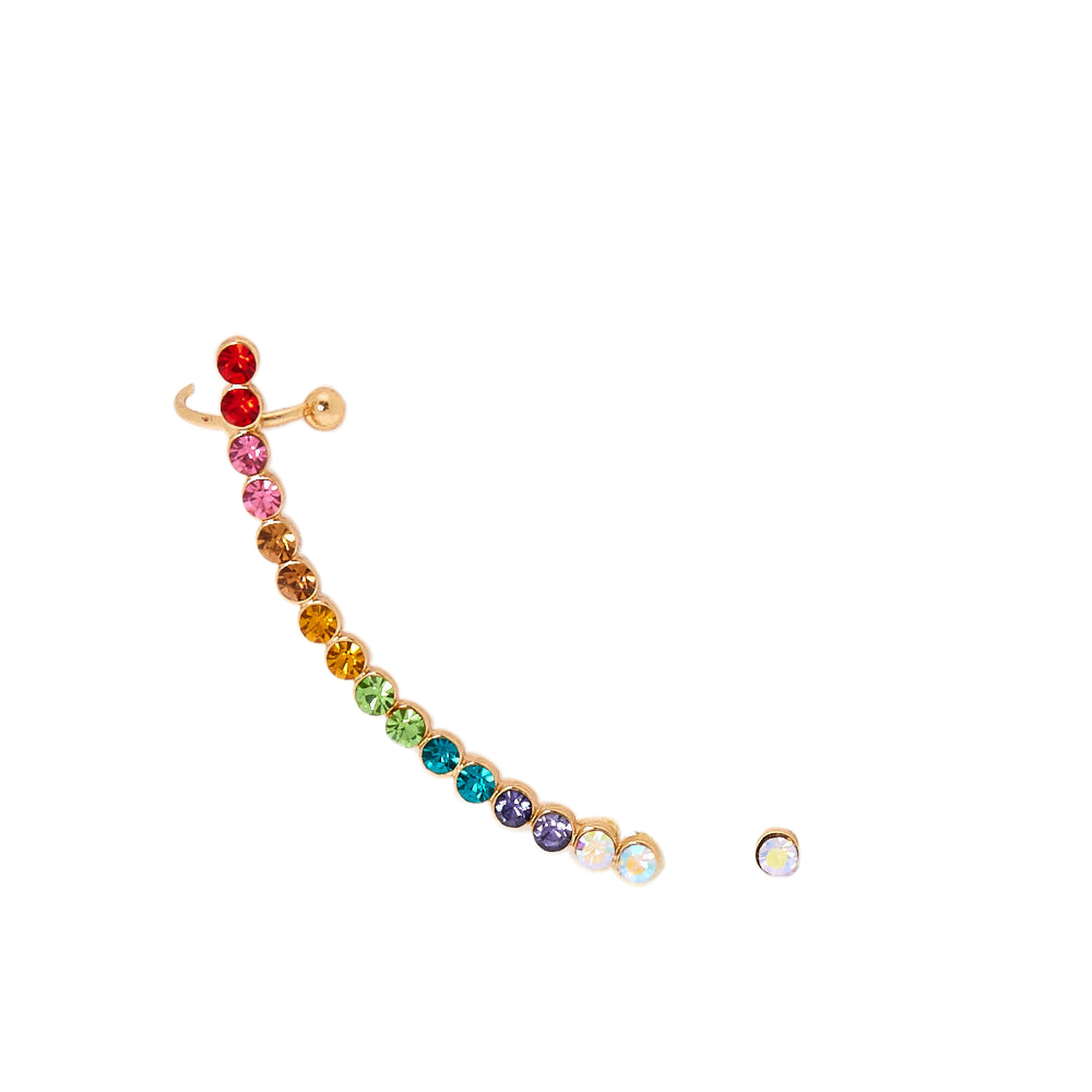 Ombre Mismatched Crawler Earring Set Rainbow