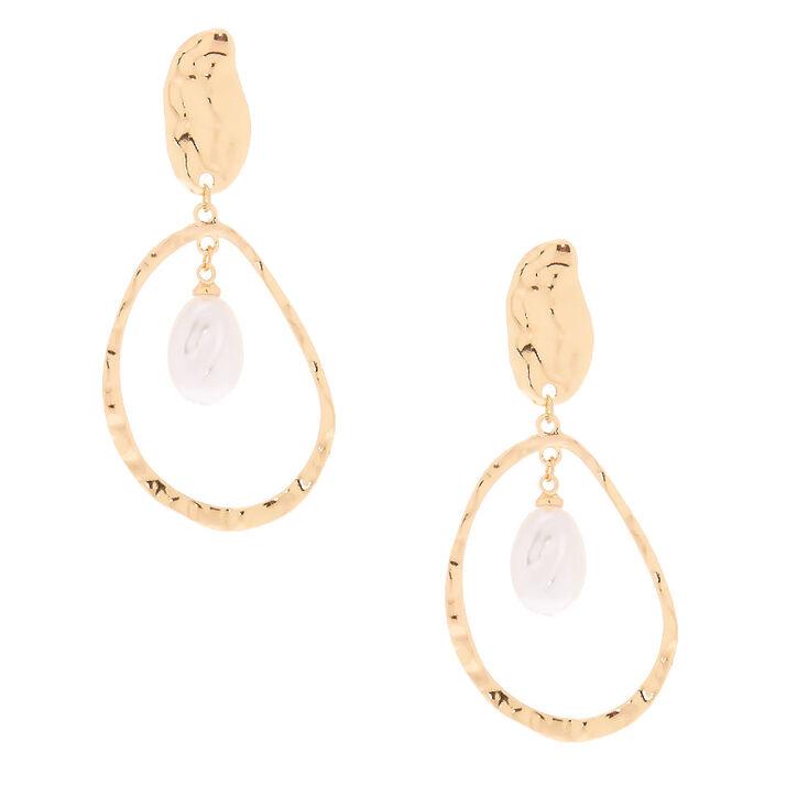 "Hammered Gold Pearl 2.5"" Teardrop Drop Earrings,"