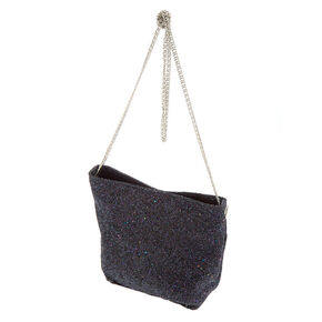 Mini Glitter Tote Crossbody Bag Black