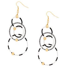 "2.5"" Black & White Racing Stripe Drop Earrings,"