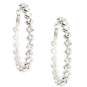 Geometric Crystal Hoop Earrings,
