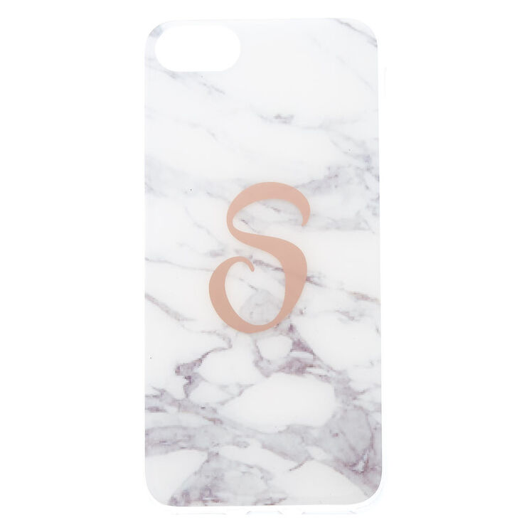 "White Marbled ""S"" Initial Phone Case - Fits iPhone 6/7/8 Plus,"