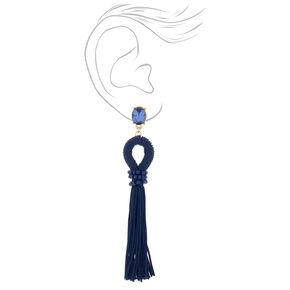 """4"""" Looped Tassel Drop Earrings - Navy,"""