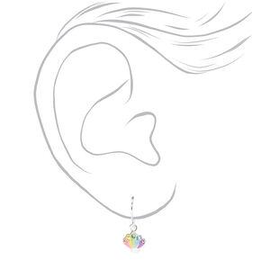 Sterling Silver Pastel Seashell Drop Earrings,