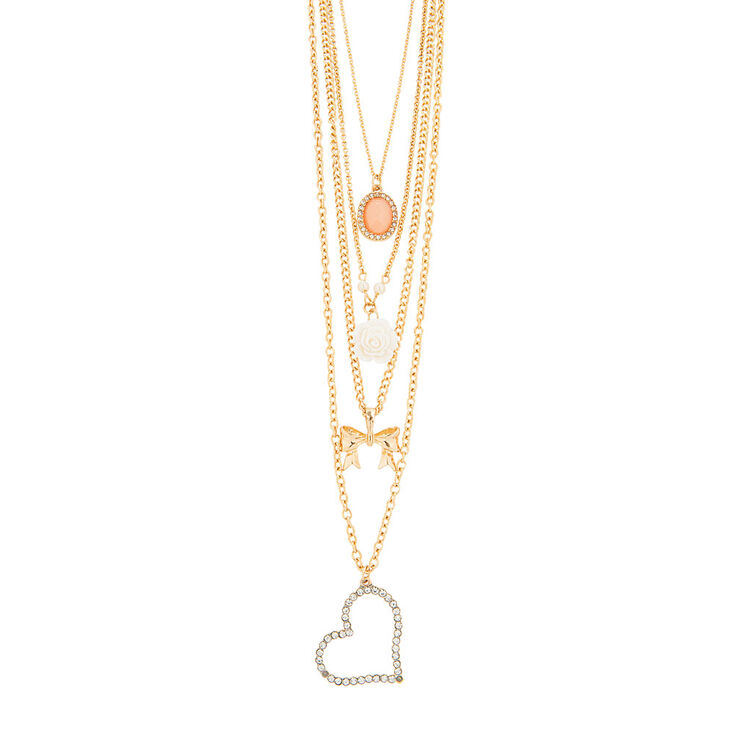Gold Four Layered Charm Necklace,