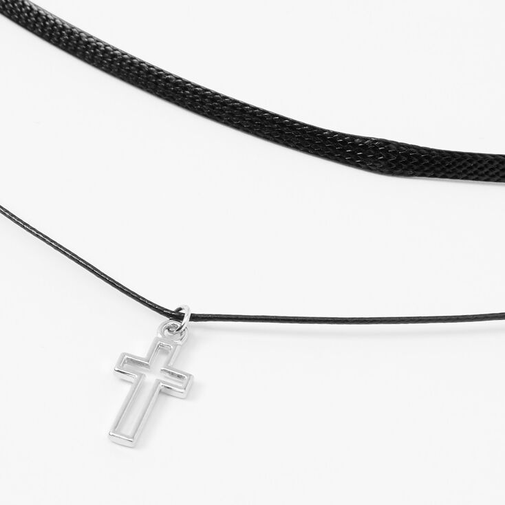 Silver Cross Outline Multi Strand Choker Necklace,