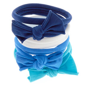Blue Bow Swiss Rolled Hair Ties - 8 Pack,