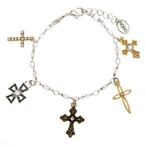 Mixed Metal Cross Charm Bracelet,