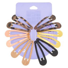 Tortoiseshell Snap Hair Clips - 12 Pack,