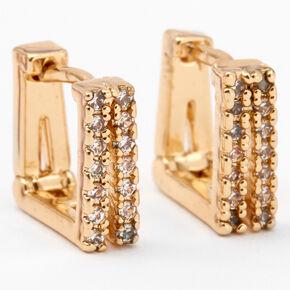 Gold Cubic Zirconia Square Split Hoop Earrings,