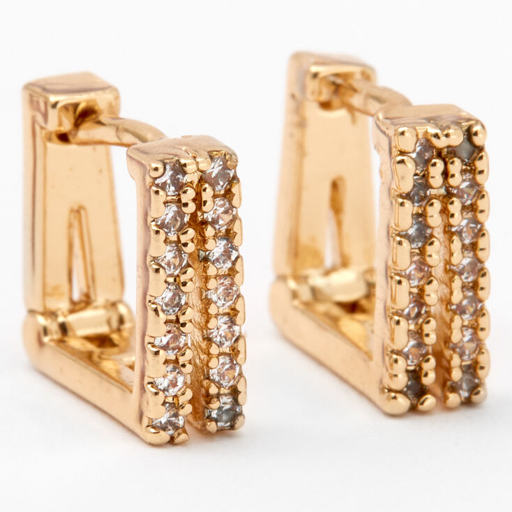 Gold Cubic Zirconia Square Split Hoop Earrings,
