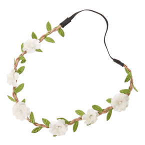 Pearly White Floral Braided Faux Suede Headwrap,