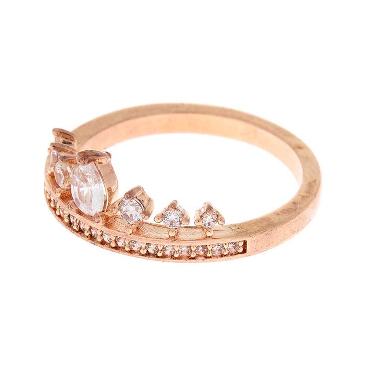 Rose Gold Cubic Zirconia Tiara Ring,