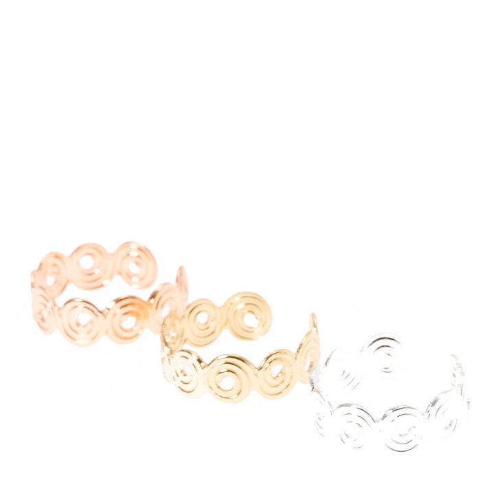 Mixed Metal Swirl Toe Rings,