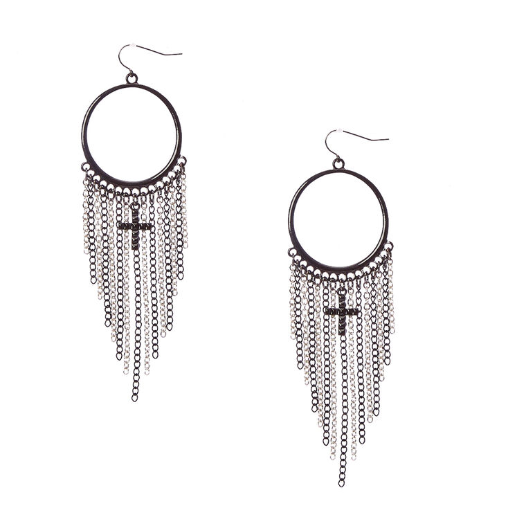 Black Gothic Hoop Chain Fringe Drop Earrings,