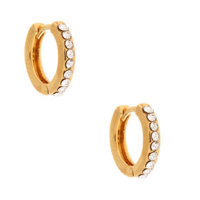 18kt Gold Plated 10MM Embellished Hoop Earrings,