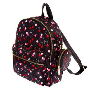 Nylon Cherry Love Medium Backpack - Black,