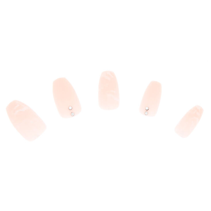 Marble Nude Bling Faux Nail Set - 24 Pack,