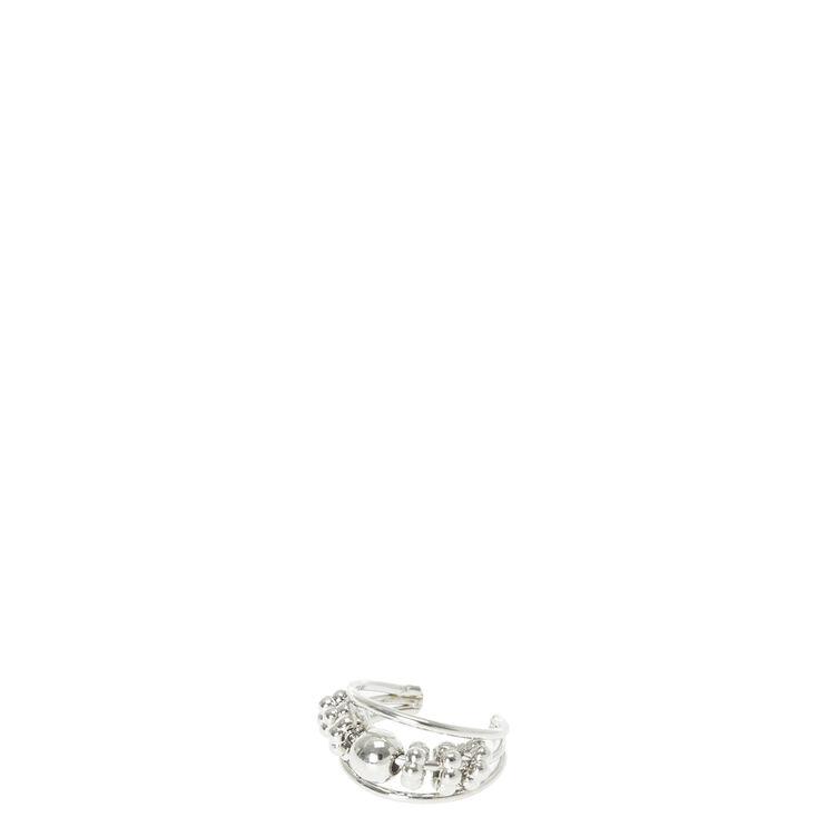 Silver Beaded Triple Band Ear Cuff,